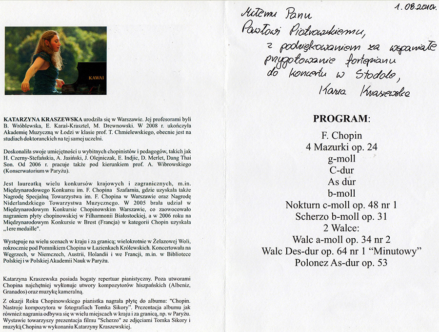 Referencje wystawione przez Katarzynę Kraszewską za przygotowanie fortepianu do koncertu