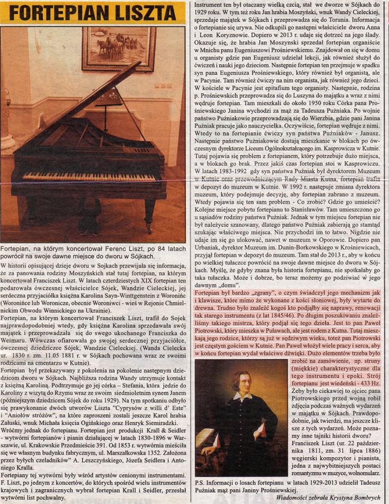 Artykuł dotyczący przeprowadzonej przez naszą firmę renowacji zabytkowego fortepianu Liszta