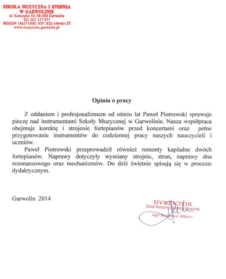 Referencje wystawione przez szkołę muzyczną w Garwolinie